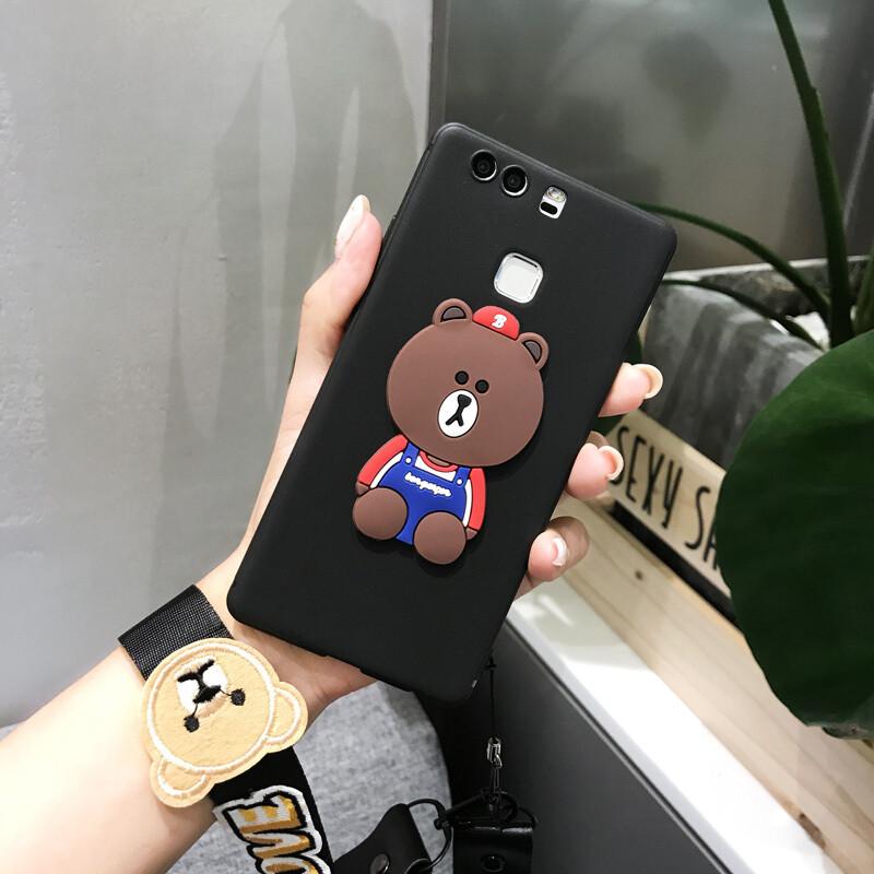 骁熊华为p10手机壳卡通p10plus手机壳可爱女款p9保护套全包挂绳软黑底