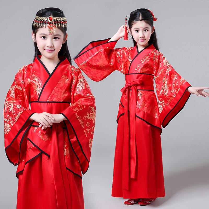 儿童新款古装红色女童曲裾古典舞演出服古筝表演服装书童摄影