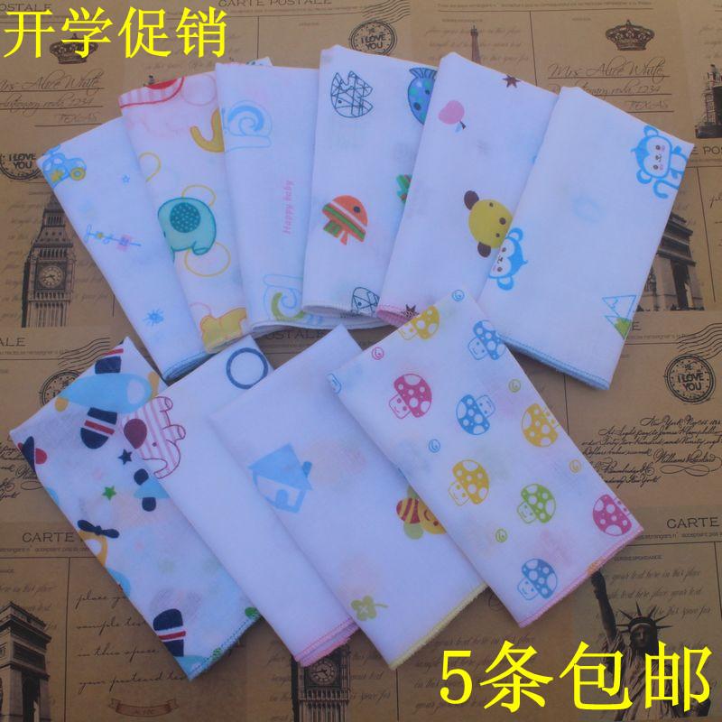 5条包 儿童女士男士全棉手帕卡通汗巾 幼儿园小学生纯棉手绢
