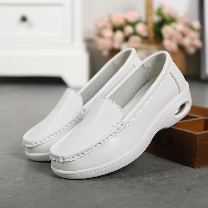 护士鞋_气垫护士鞋春秋季女新款韩版医院白色坡跟平底小白鞋加绒保暖
