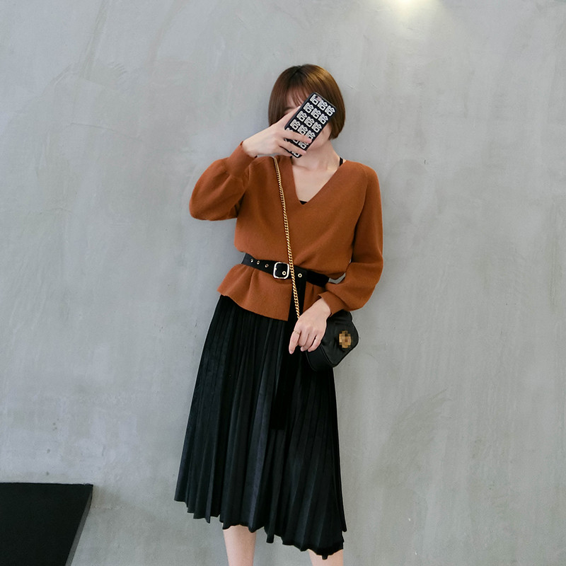 q金丝绒吊带连衣裙秋冬女套装v领针织衫长袖上衣两件套潮