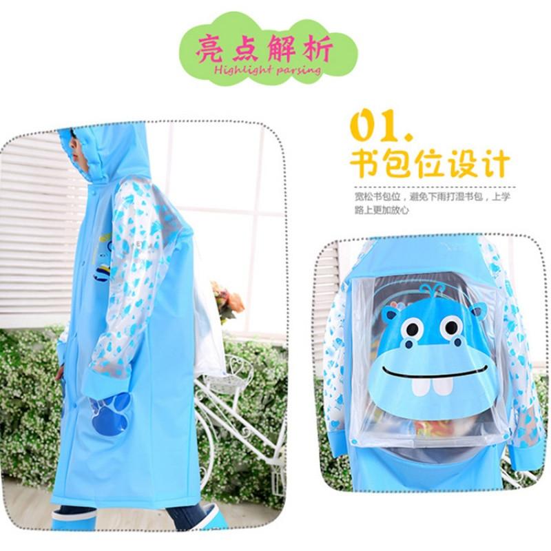 儿童雨衣幼儿园宝宝小孩子学生卡通雨衣男童女童防水雨披带书包位
