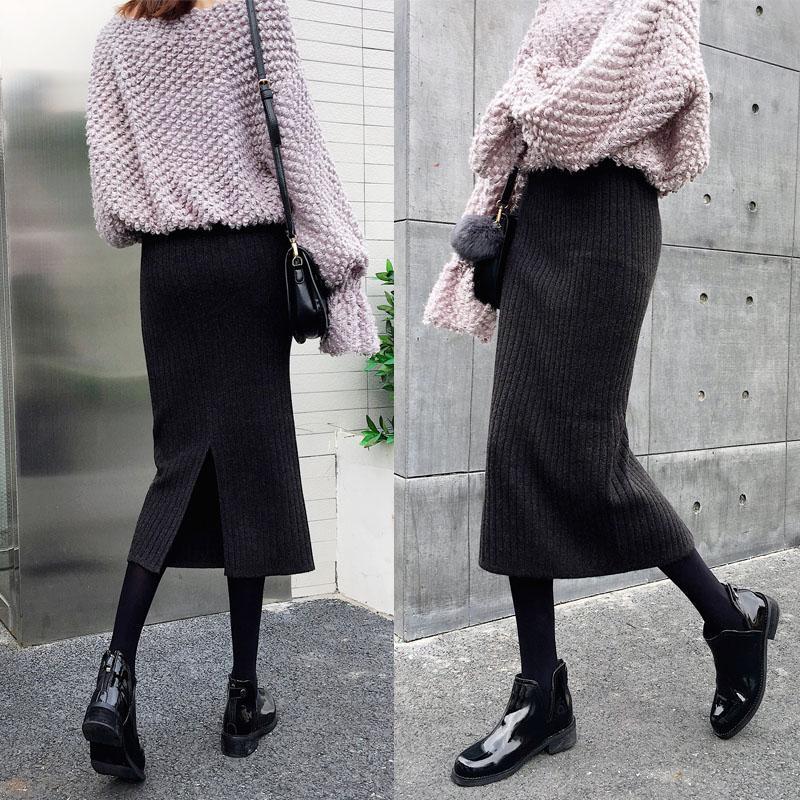 针织一步裙包臀裙子冬裙冬季半身裙秋冬女毛线中长款长裙