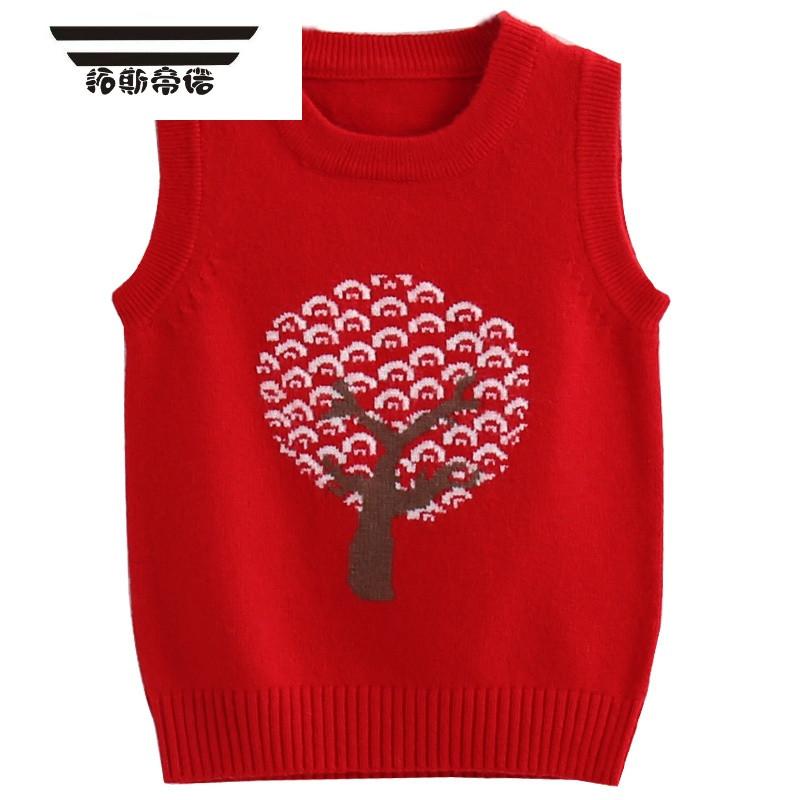 宝宝马甲秋冬针织羊绒男童毛线背心儿童羊毛衫套头圆领红色女童装