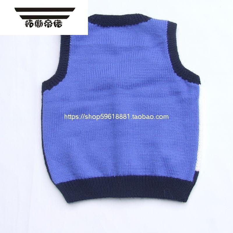 宝宝手织毛衣马甲婴儿手工毛线背心坎肩蓝色海陆空图案