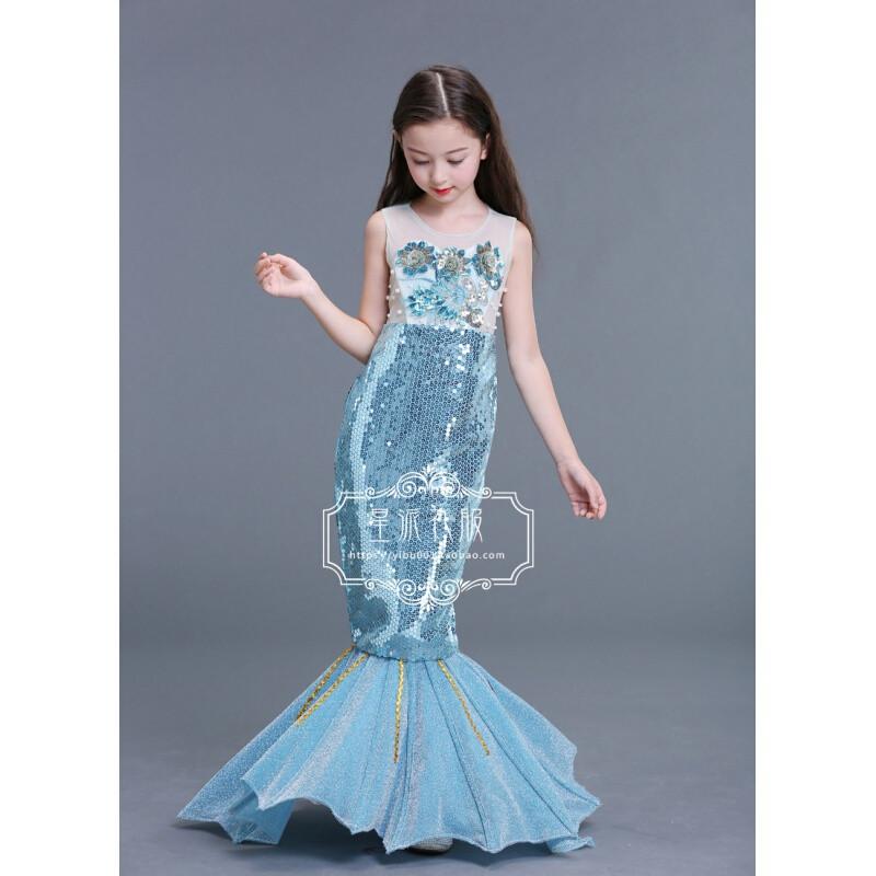 美人鱼公主裙子女童万圣节儿童服装人鱼公主儿童鱼尾裙走秀礼服图片