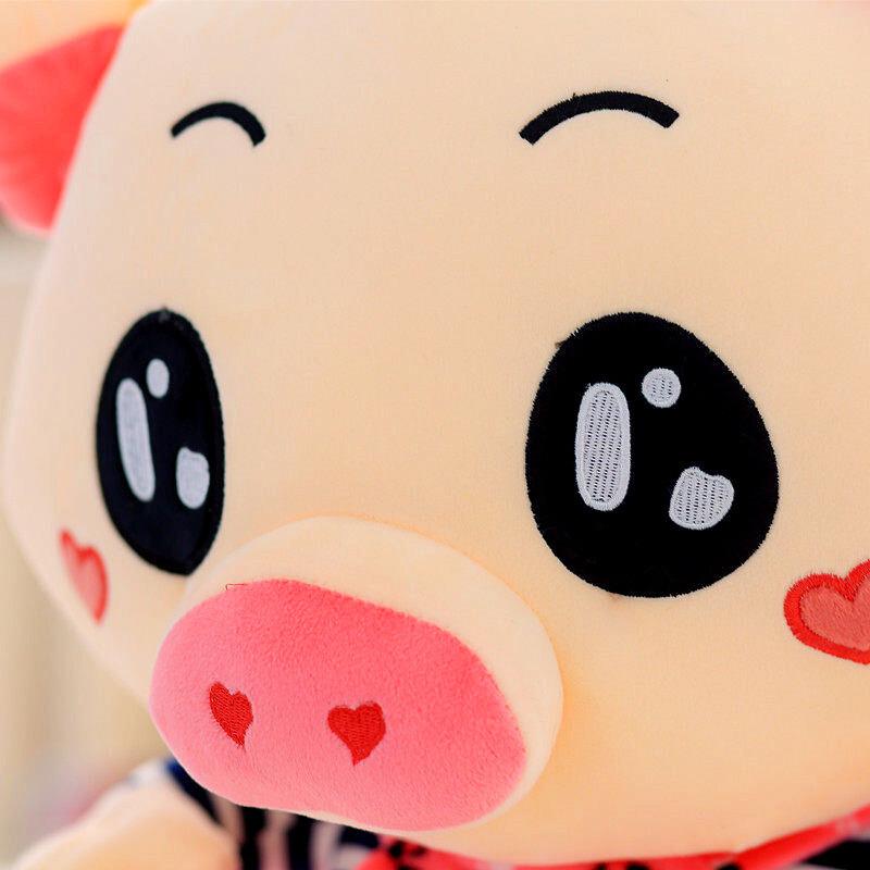 可爱三顺猪甜心猪猪公仔情侣猪头靠垫睡觉抱枕头儿童毛绒玩具大号布