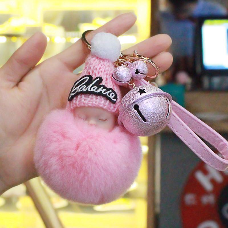 119新款可爱睡萌娃娃铃铛钥匙扣女韩国创意睡眠宝宝汽车钥匙链毛绒包