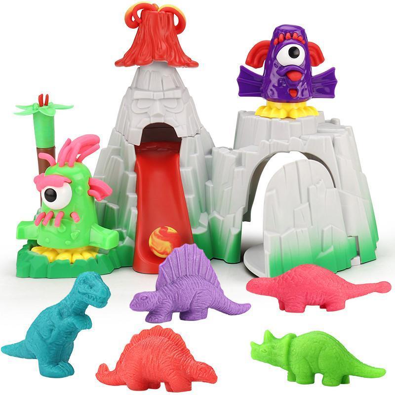 儿童3d益智彩泥橡皮泥模具工具套装恐龙世界无毒粘土男孩手工玩具