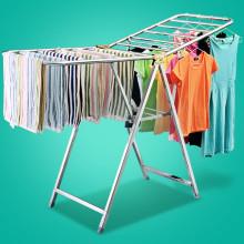 家用折叠晾衣架落地阳台晒衣架室内衣架翼型不锈钢移动凉衣架图片