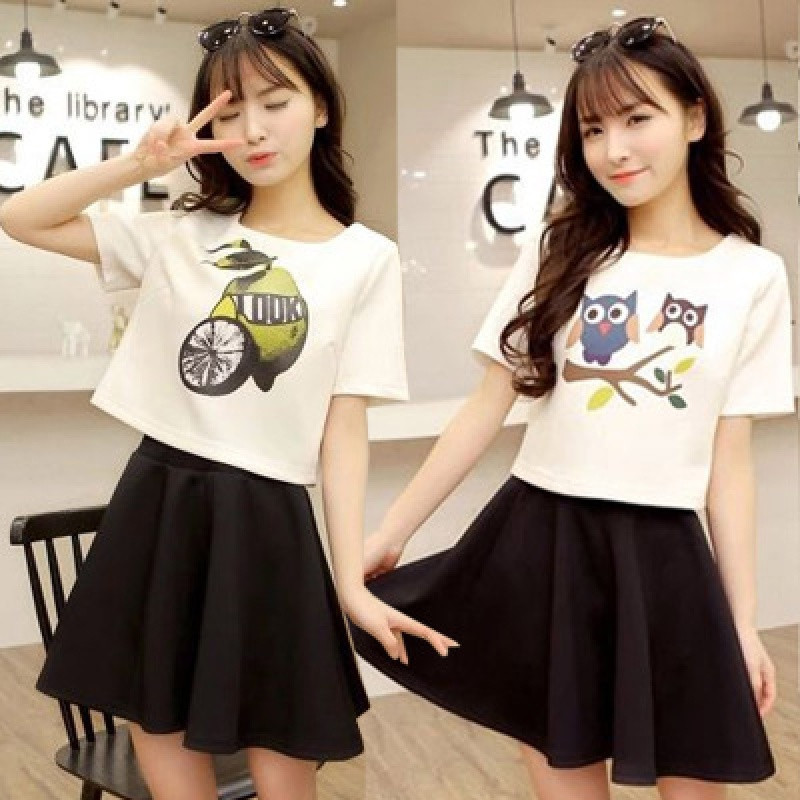 2018新款学生套装女夏季韩版印花短袖t恤+短裙时尚百搭两件套图片