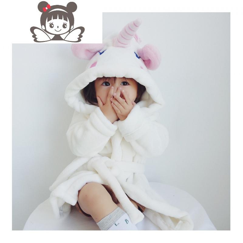 秋冬款新女童女宝宝家居服可爱卡通独角兽米菲兔睡袍浴袍睡衣