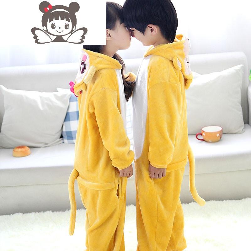 悠嘻猴儿童动物连体睡衣秋冬法兰绒男女童学生演出服