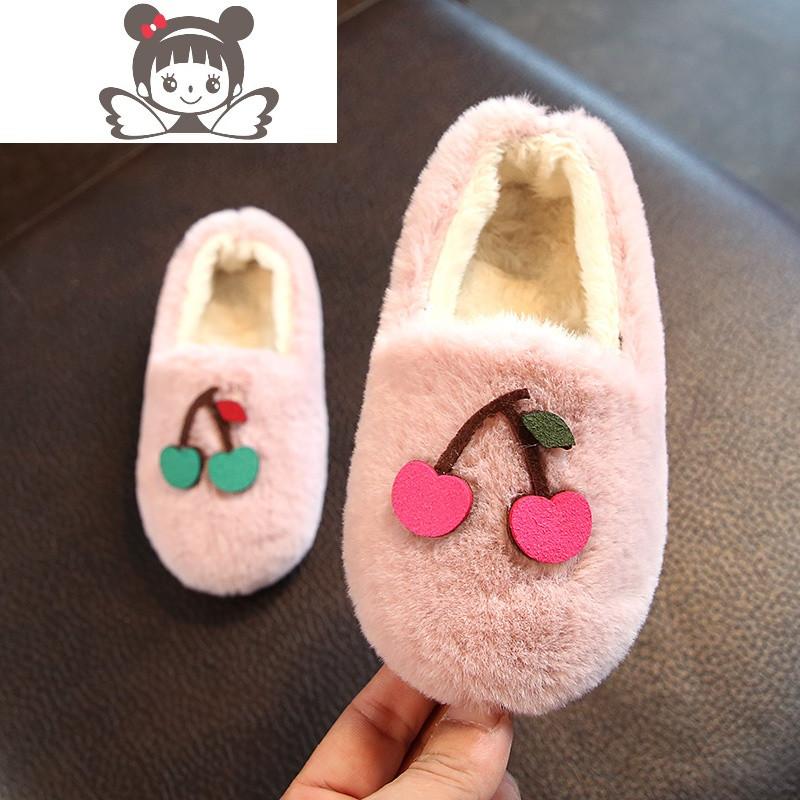 2017冬季新款韩版女童棉鞋公主鞋加绒儿童豆豆鞋可爱宝宝鞋女童鞋
