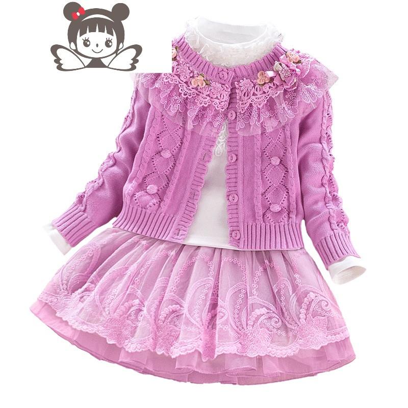 女童春装套装2018新款 韩版 潮衣童装裙子三件套棉毛衣公主套裙
