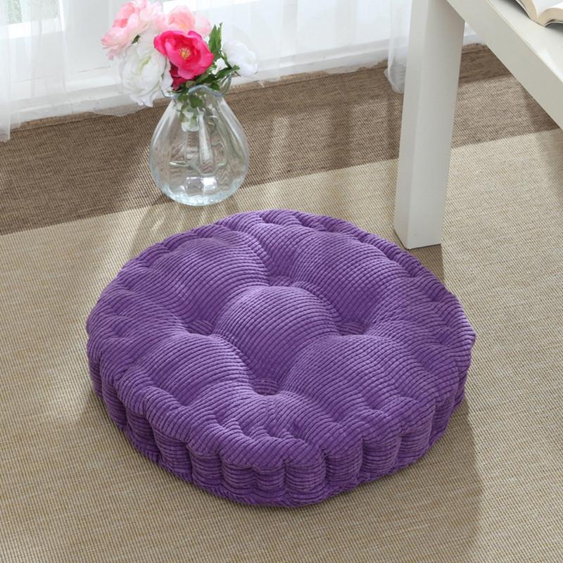 灯芯绒加厚圆形坐垫榻榻米垫高增高垫玉米绒藤椅圆凳垫子纯色简约