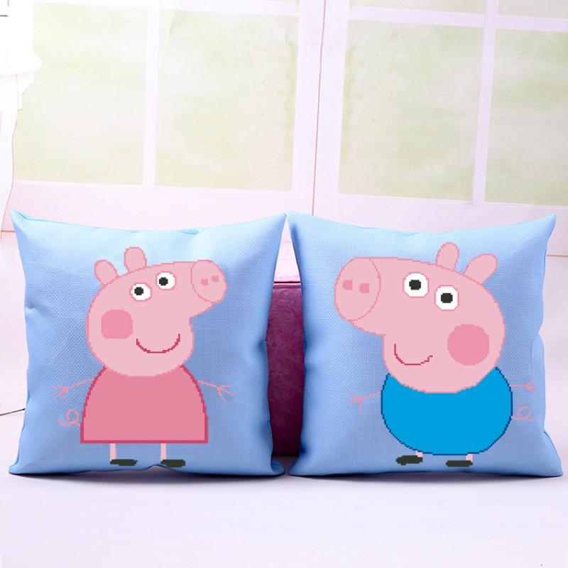 印花十字绣抱枕卡通动漫可爱小猪沙发靠枕头汽车护腰靠垫一对