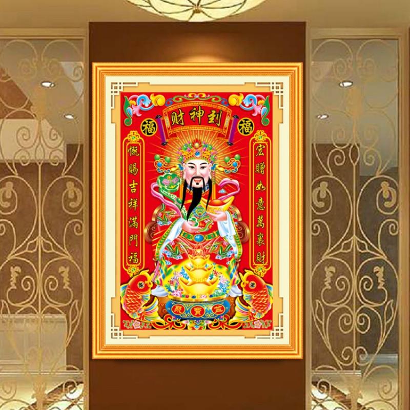 5d魔方钻石画财神爷满钻全贴钻石绣财神到十字绣客厅粘钻画