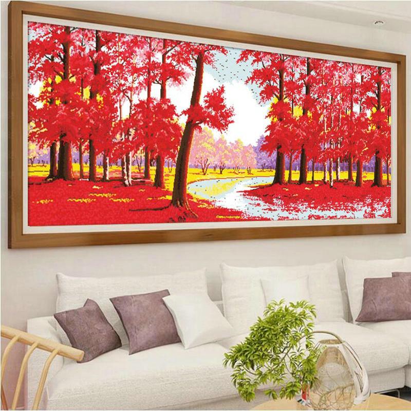 枫叶十字绣 鸿运当头线绣大幅红树林全景客厅大幅刺绣图片