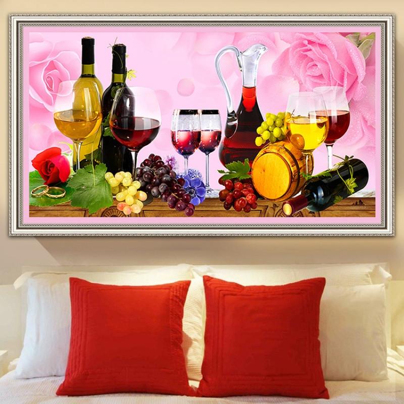满钻5d钻石画红酒杯钻石绣客厅十字绣玫瑰餐厅砖石画葡萄水果