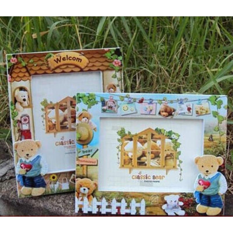 7寸可爱熊宝宝田园风格相框相架像框七寸幼儿园儿童卡通摆台