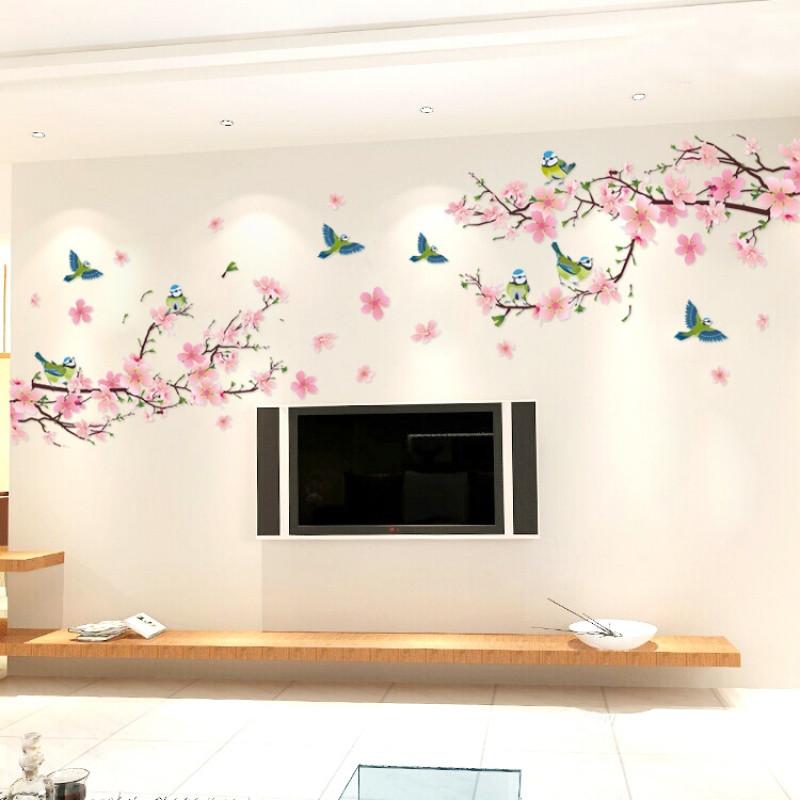 客廳裝飾中國風電視背景墻貼畫年畫墻紙自粘臥室沙發墻壁貼紙桃花