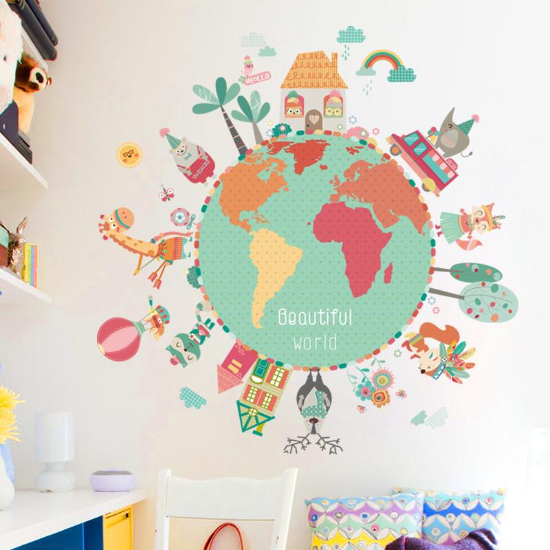 时尚个性地球星球墙贴纸可爱卡通动物儿童房卧室墙壁装饰自粘贴画