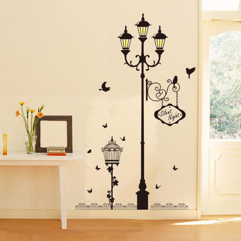 墙壁贴纸欧式路灯墙贴卧室客厅房间装饰品墙上贴画玄关创意背景墙