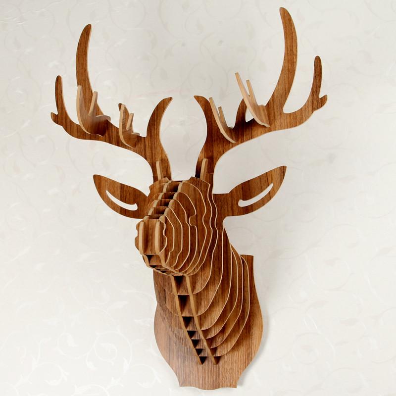 鹿头壁挂木质动物墙饰北欧创意家居玄关壁饰服装店墙面装饰品