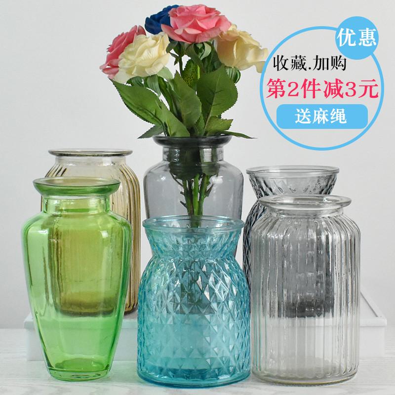 欧式简约透明玻璃花瓶水培插花桌面创意摆件家居装饰干花瓶图片