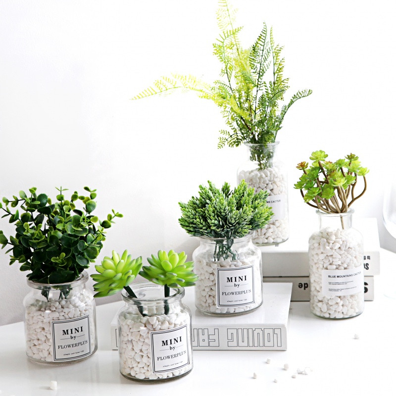 北欧盆栽仿真植物假多肉绿植家居客厅室内窗台装饰创意小摆件