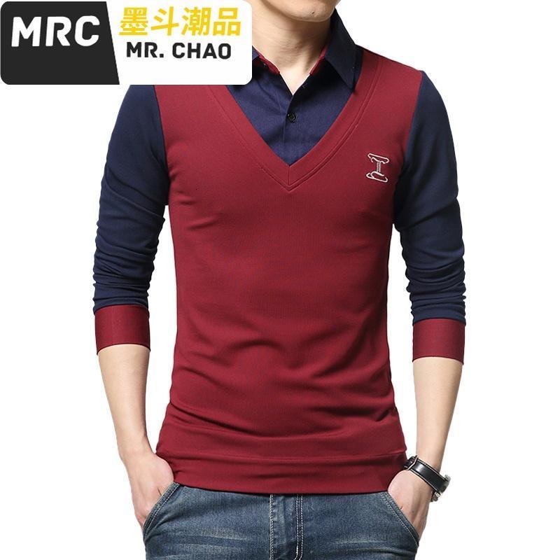 时尚男装秋季男士长袖t恤韩版假两件针织开衫男装t恤衬衫领加肥加大码