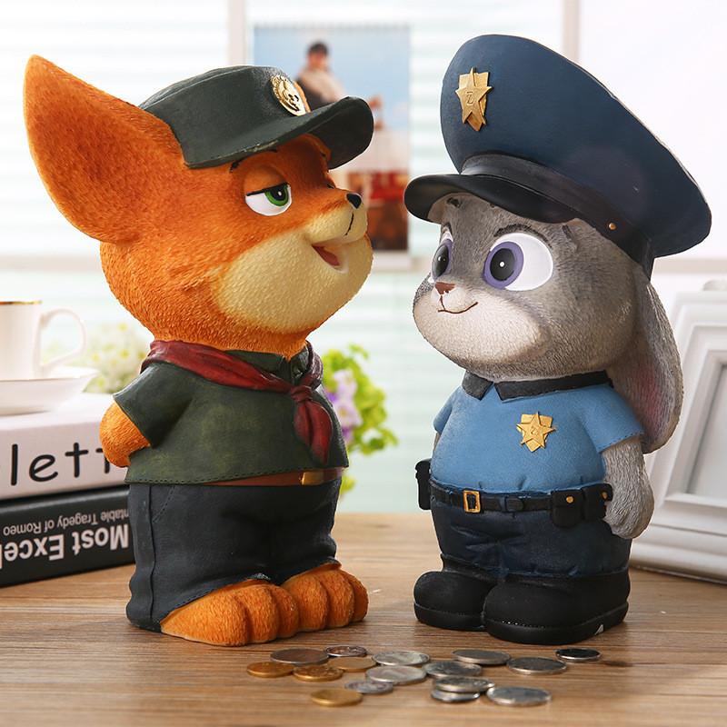 创意树脂摆件疯狂动物城大号储蓄存钱罐狐狸尼克兔子朱迪生日礼物