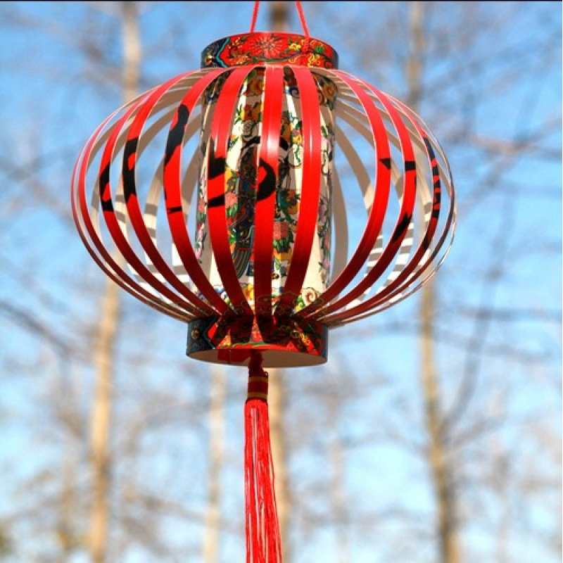 狗年春节diy手提灯笼儿童手工手提发光纸灯笼亲子花灯制作材料包图片