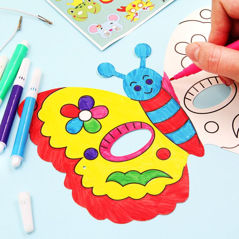 空白面具 动物卡通儿童涂色绘画 幼儿园画画涂鸦手工diy美术材料