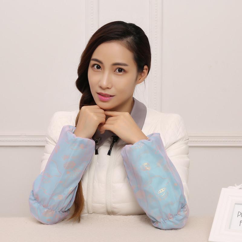 冬季女士双层防水袖套 韩版可爱套袖防污防尘办公护袖
