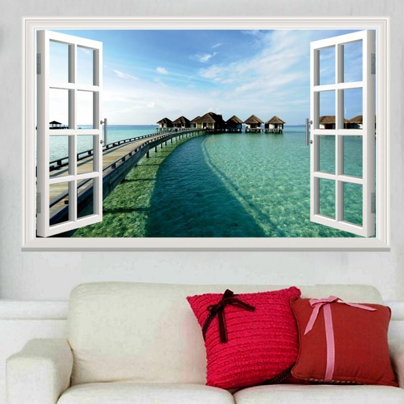 墻貼臥室假窗戶3d風景裝飾畫浪漫學生宿舍自粘貼畫背景墻墻貼紙