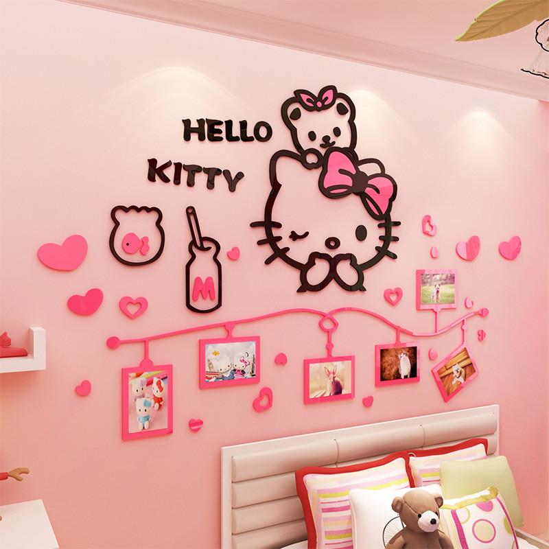 hellokitty照片墙3d立体墙贴画可爱客厅卧室床头儿童房亚克力墙贴