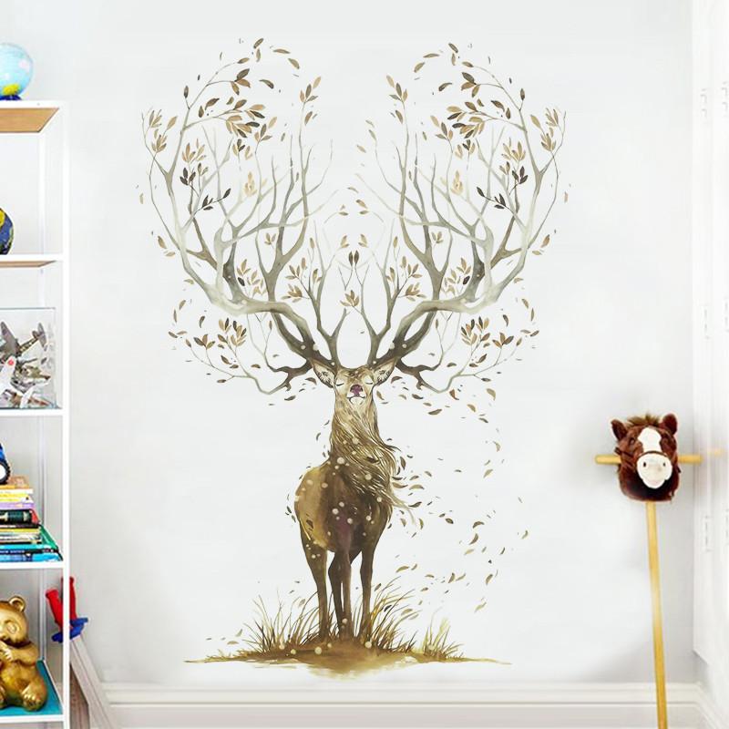 风鹿贴纸墙贴卧室自粘温馨创意个性贴画墙面壁纸背景墙房间装饰品