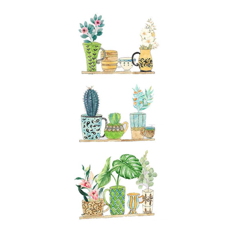 墙贴 风贴纸清新手绘盆栽植物宿舍装饰客厅卧室布置可
