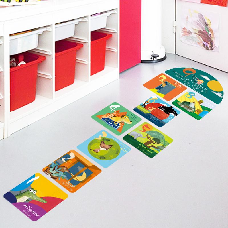 可爱动物数字游戏跳房子方格地板贴画卡通儿童房幼儿园地面墙贴纸