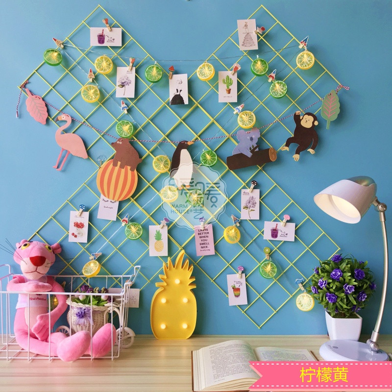 柠檬格照片墙装饰麻绳夹子小清新少女心房间装饰网格挂篮