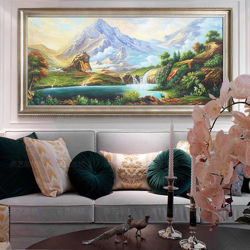 纯手绘手工风景油画欧式客厅背景墙装饰画招财聚宝盆风水山水画