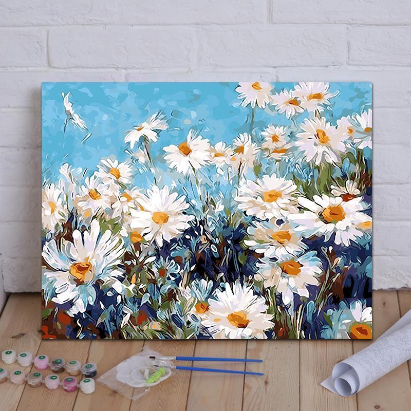 diy数字油画客厅风景花卉动漫人物手绘定制大幅填色装饰画 千菊飞