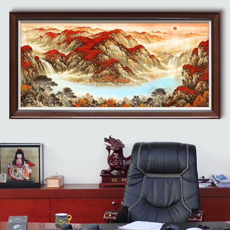 纯手绘中式办公室风景油画风水靠山水画鸿运当头客厅招财聚宝盆画