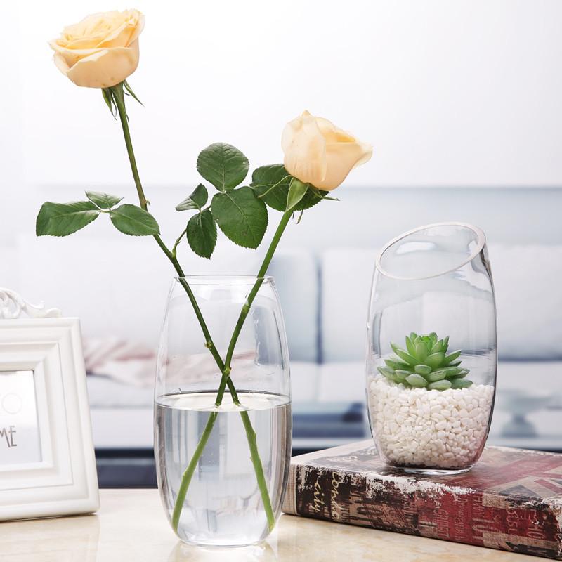 玻璃花瓶透明 小清新创意简约现代客厅插干花水培装饰品摆件