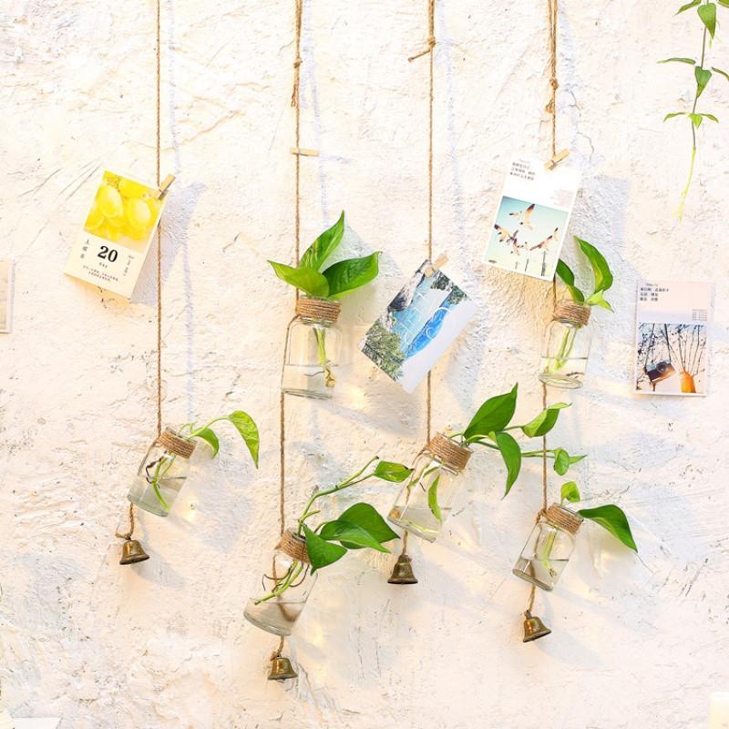 小a花瓶花瓶挂麻绳挂件玻璃多层玻璃瓶透明风铃小悬壁装饰水培衣柜顶固吊瓶实木植物图片