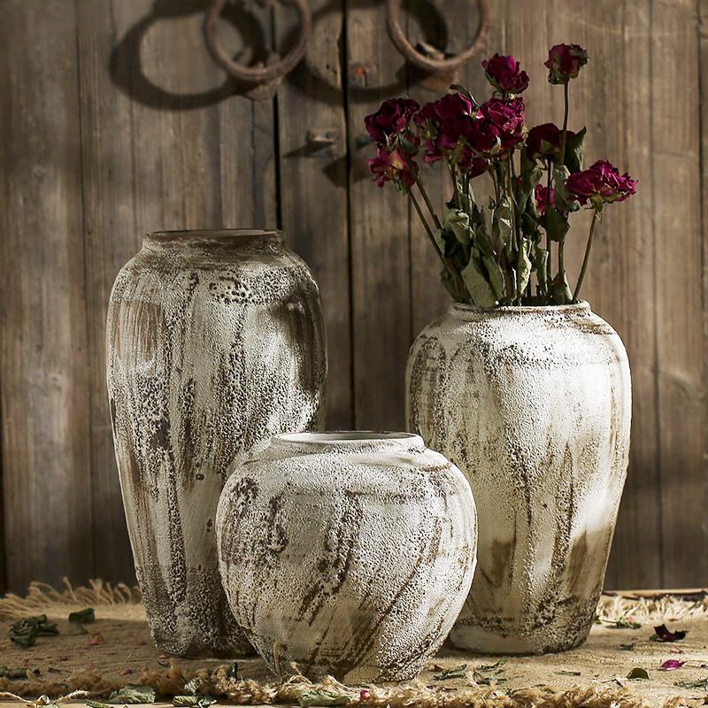 景德镇做旧复古陶瓷玄关花瓶插花手工粗陶罐摆件多肉土陶花盆