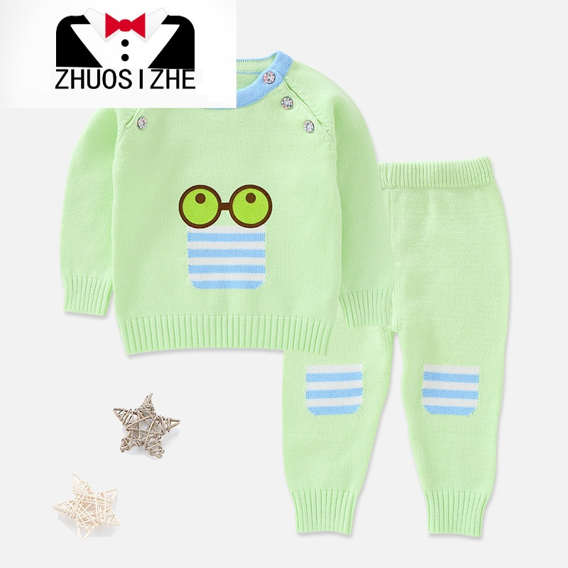 儿童婴儿宝宝棉线毛衣毛裤保暖套装可爱秋款棉线衣裤套装包邮