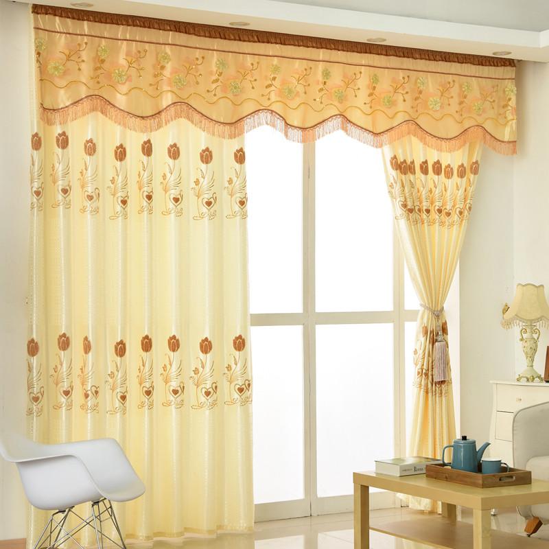 郁金香立体绣花窗帘粉紫色客厅卧室成品窗帘定制帘头窗幔